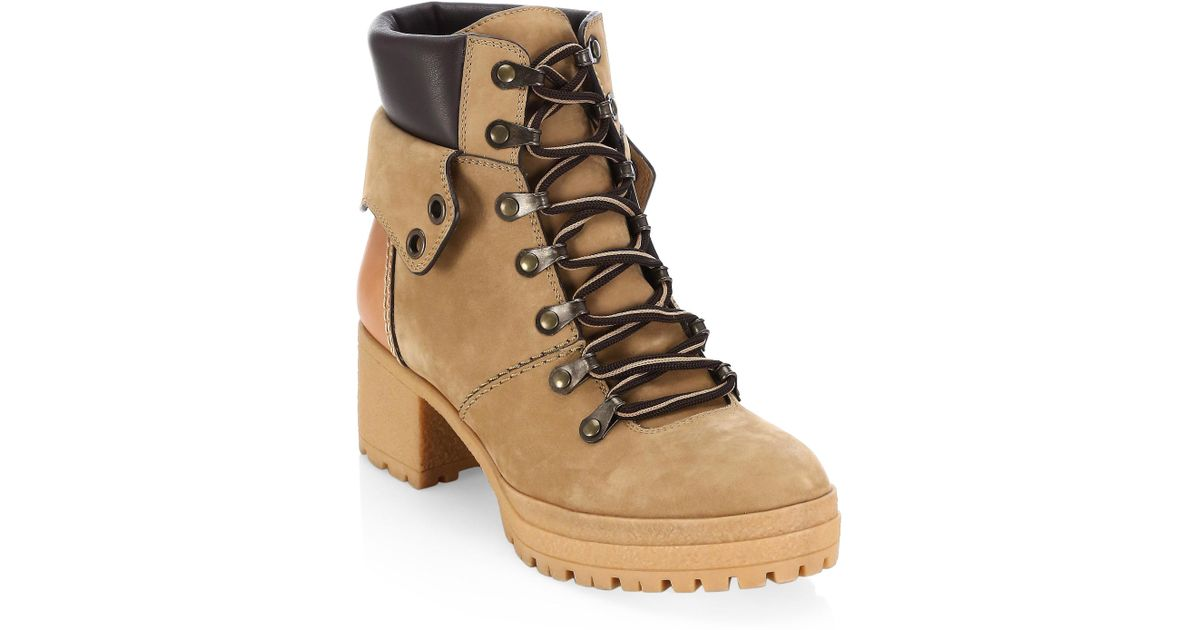 2a0736ea093 See By Chloé Brown Women's Cargo Hiker Round Toe Lace Up Leather Booties