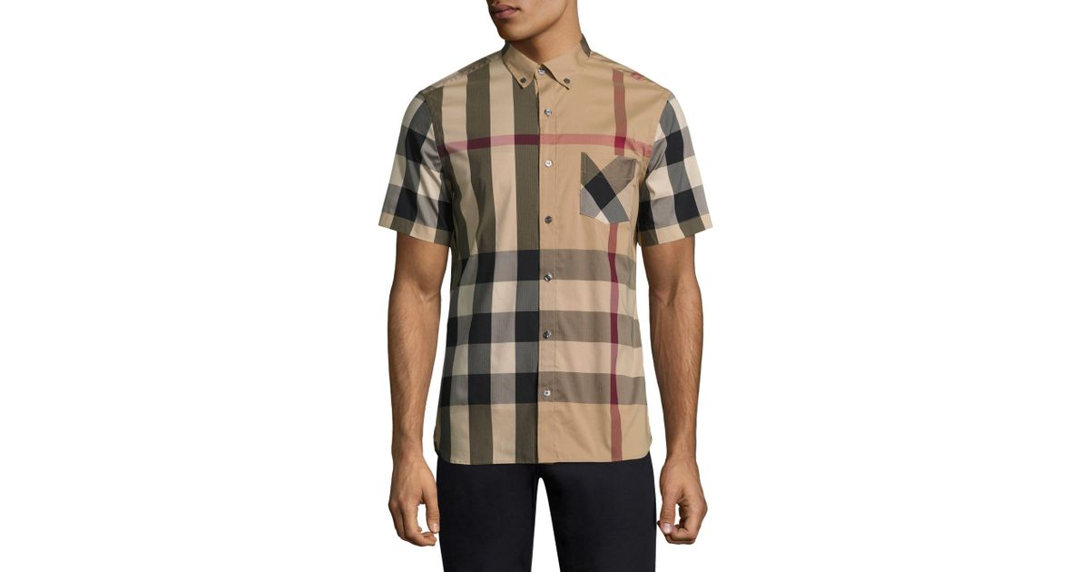 09cc516944f Burberry Thornaby Short-sleeve Check Sport Shirt for Men - Lyst