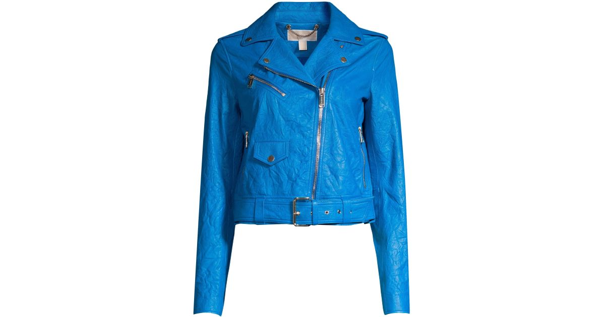 e3d5ce253b04 Lyst - MICHAEL Michael Kors Women's Soft Crinkle Leather Moto Jacket -  Grecian Blue - Size Large in Blue