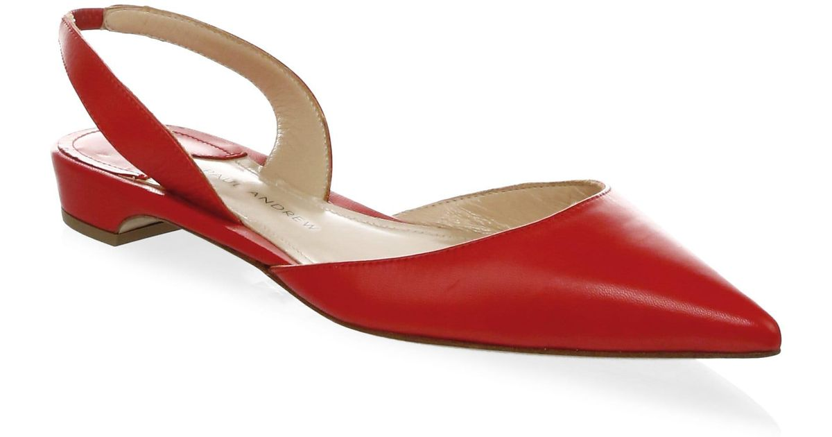 c7a427ac016 Paul Andrew Rhea Patent Leather Slingback Flats in Red - Save  8.252427184466015% - Lyst