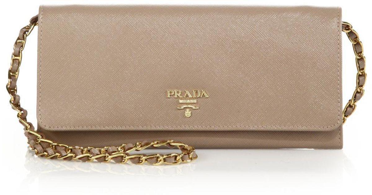 792e40a6575c Prada Saffiano Metal Oro Chain Wallet in Natural - Lyst