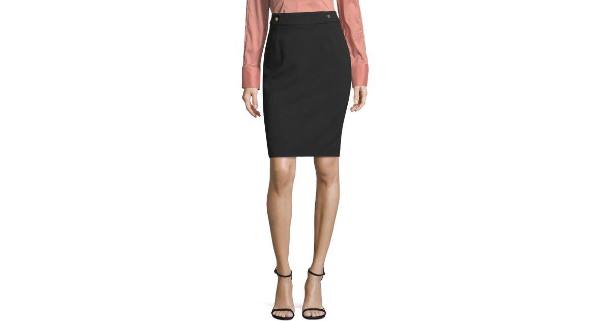 81bd502ec26 Lyst - BOSS Vipulida Twill Pencil Skirt in Black
