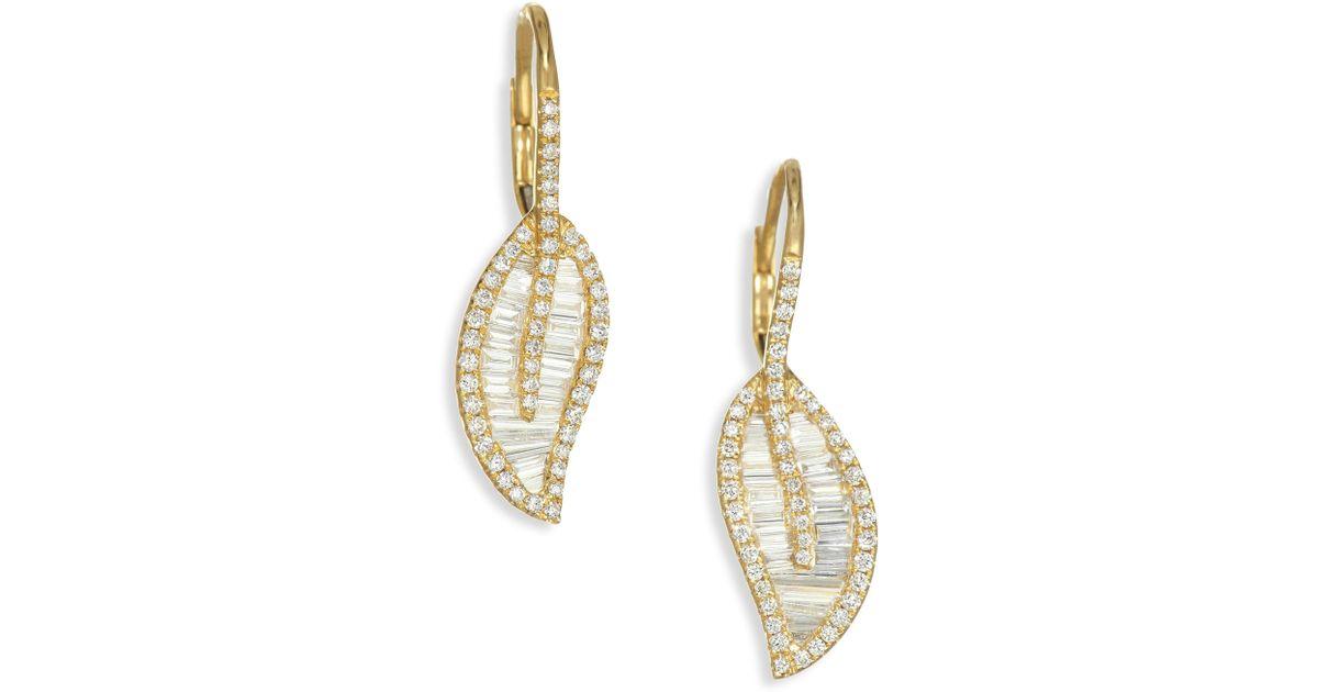 Anita Ko Women S 18k Gold Diamond Leaf Drop Earrings Yellow In Metallic Lyst