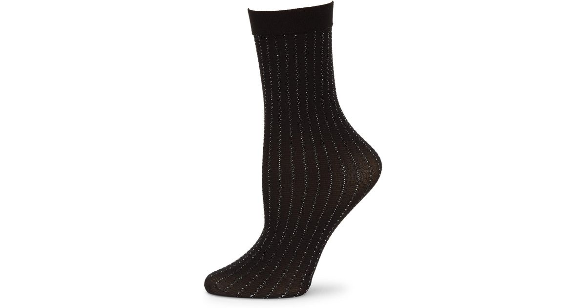 992e8a25efd Lyst - Wolford Women s Sparkle Strip Socks - Black Silver - Size Small in  Black