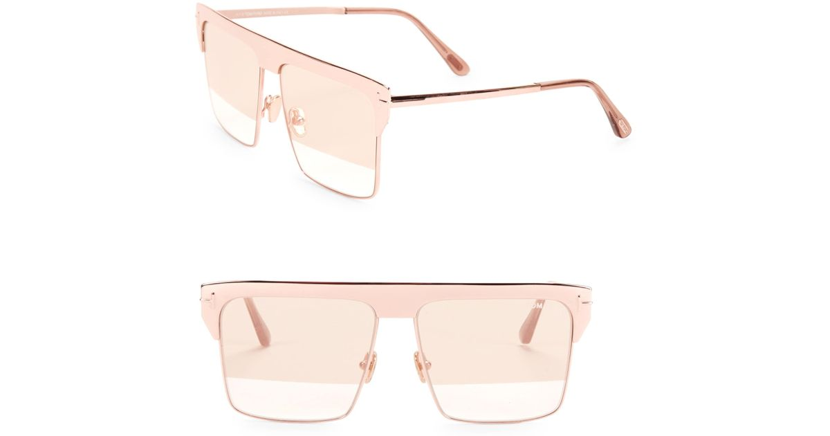 0c2c671e87d7 Tom Ford West 59mm Square Rose Goldplated Sunglasses - Lyst