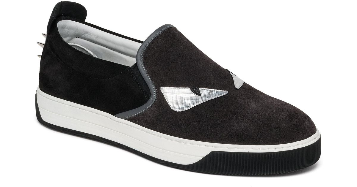 6d603bbf Fendi Black Monster Slip-on Sneaker for men