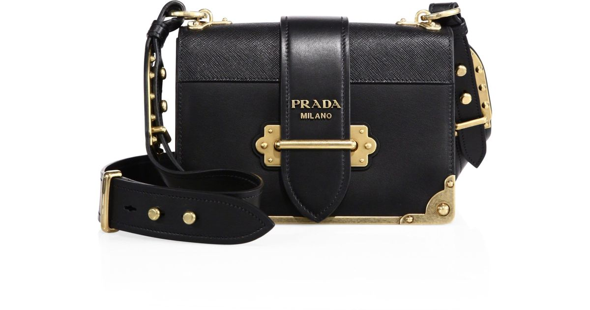 bfb468aa0993 Prada Cahier Notebook Leather Shoulder Bag in Black - Lyst