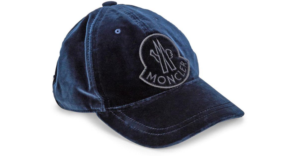 c87902354c8 Lyst - Moncler Velvet Baseball Cap W  Logo Patch in Blue