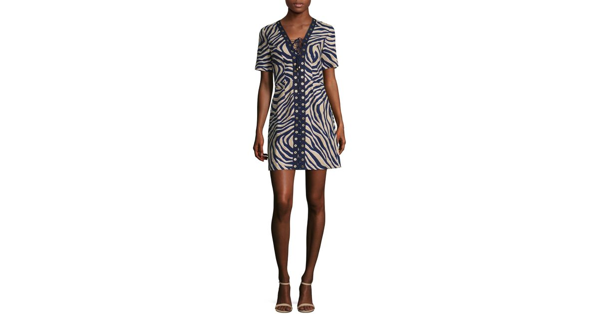 6160cf079b MICHAEL Michael Kors Quincy Lace-up Linen Dress - Lyst