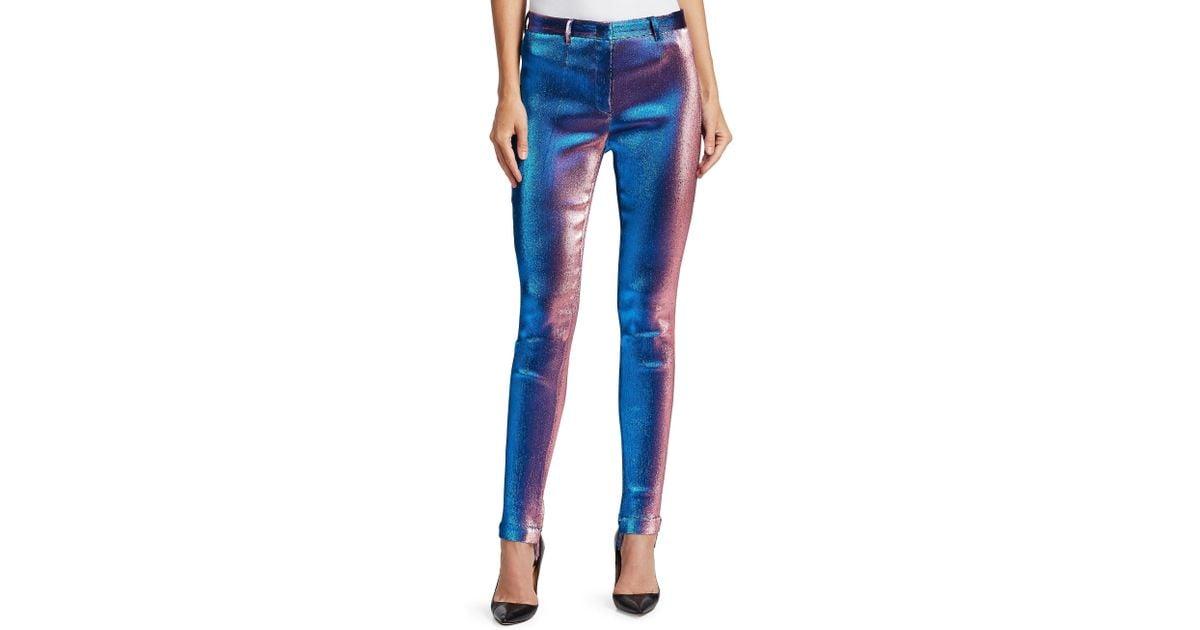 Roberto Cavalli Straight-leg Lurex Shimmer Pants in Blue - Lyst 9b3fd6218