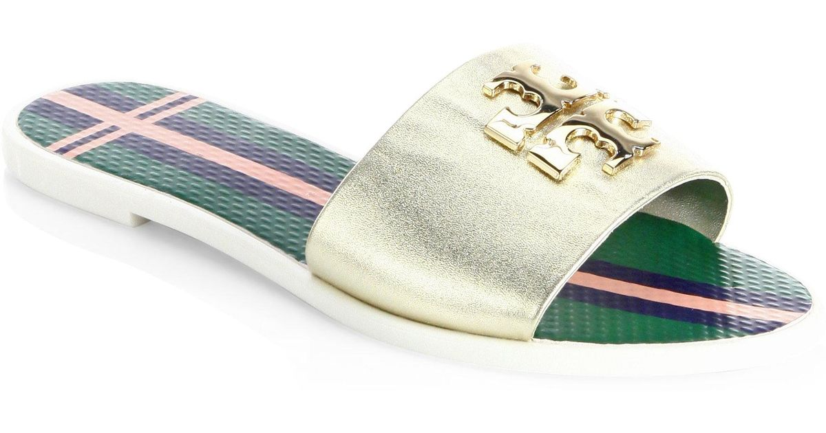 98a7b1ed7973d4 Lyst - Tory Burch Logo Leather Jelly Slide Sandal in Metallic