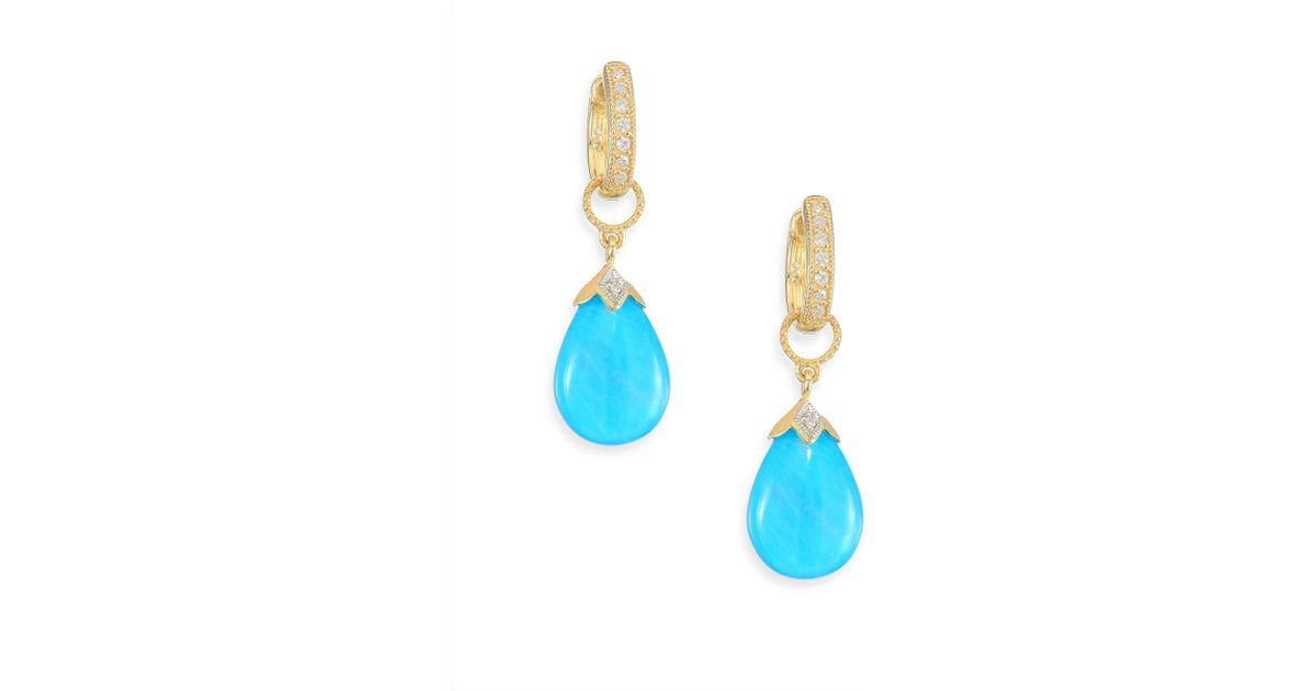 Jude Frances 18K Gold Turquoise and Diamond Earring Charms RbpTa21T