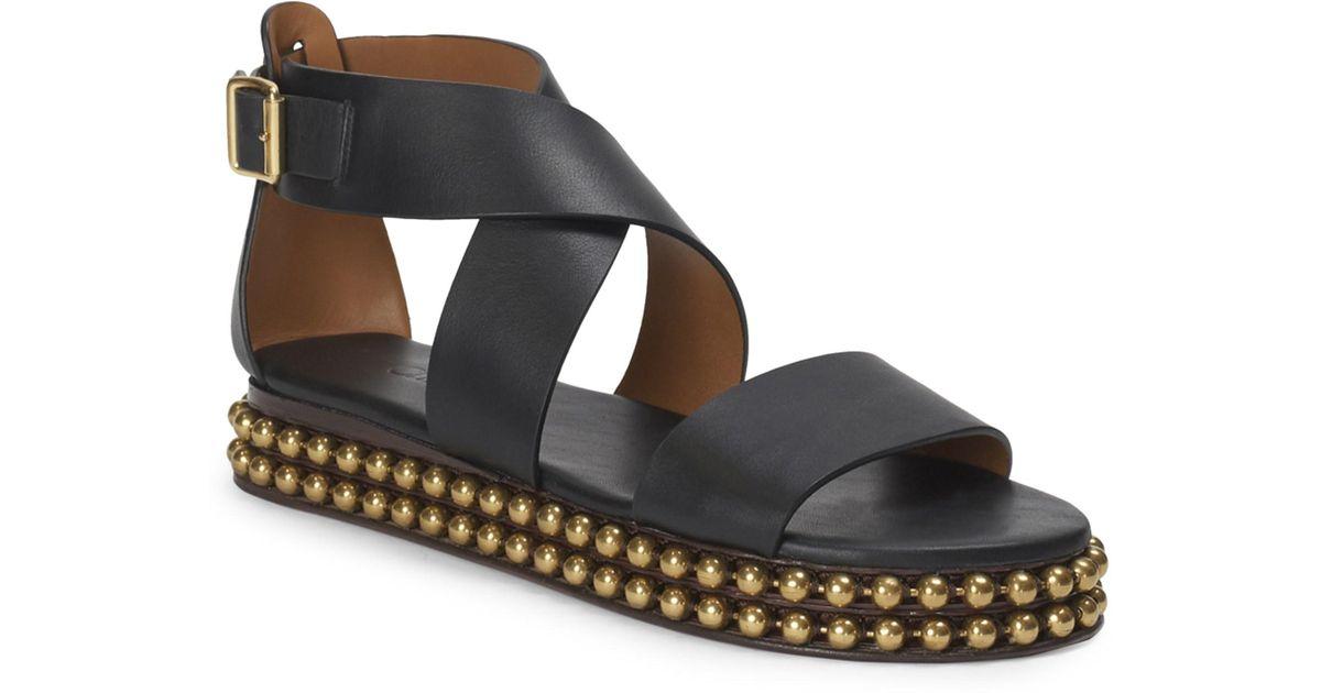 8f6b79b02037 Chloé Sawyer Studded Leather Wrap Gladiator Sandals in Black - Save 33% -  Lyst