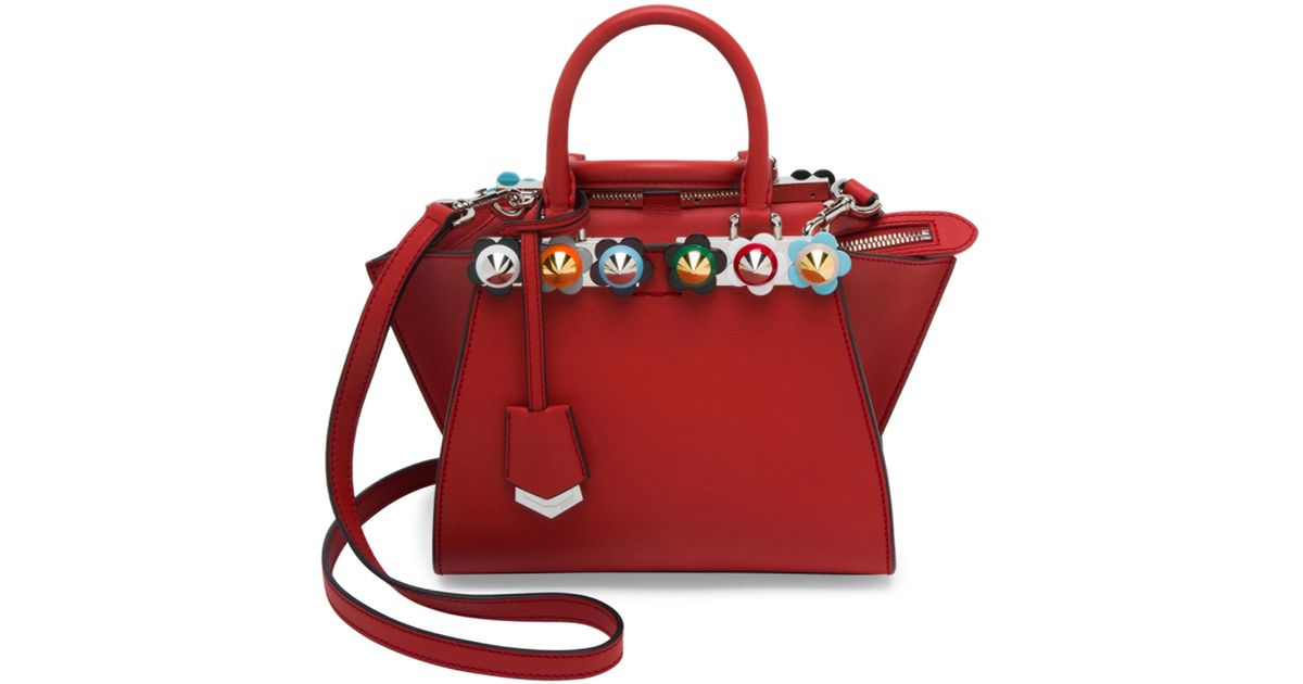 800519feea ... sweden lyst fendi 2 jours flower studded leather tote in red 346f8  ac9ab ...