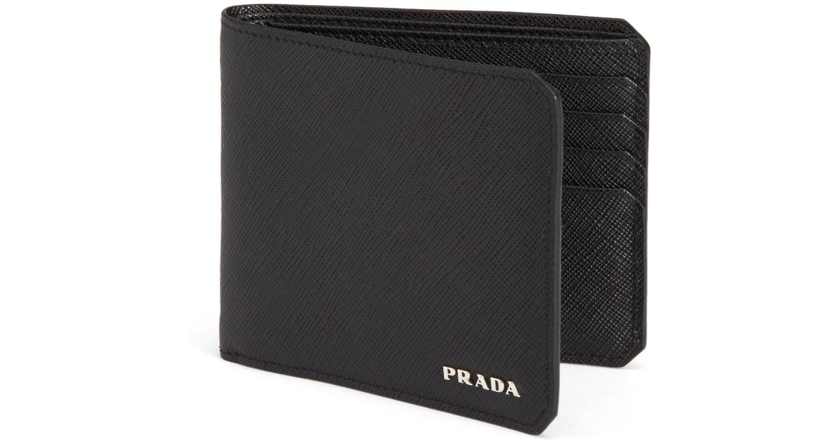 32c582b962a3 Prada Saffiano Leather Bifold Wallet in Gray for Men - Lyst