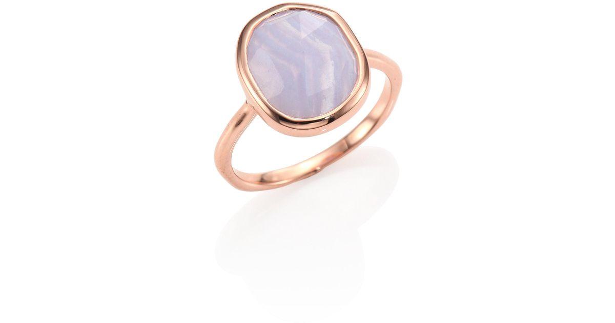 Monica Vinader Metallic Siren Medium Blue Lace Agate Stacking Ring