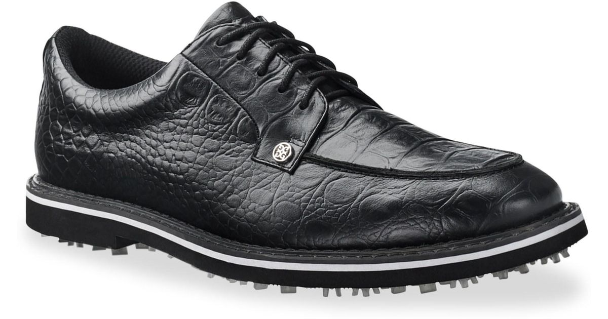 G Fore Gallivanter Pintuck Croc Embossed Leather Golf