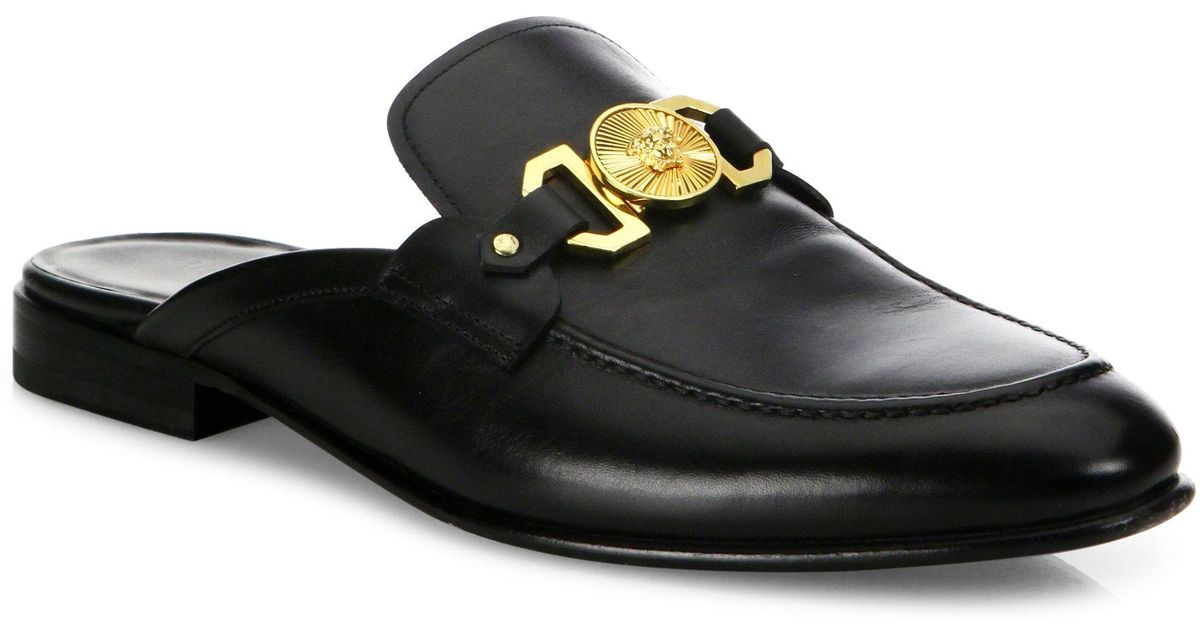 Versace Leather Open Back Loafers in