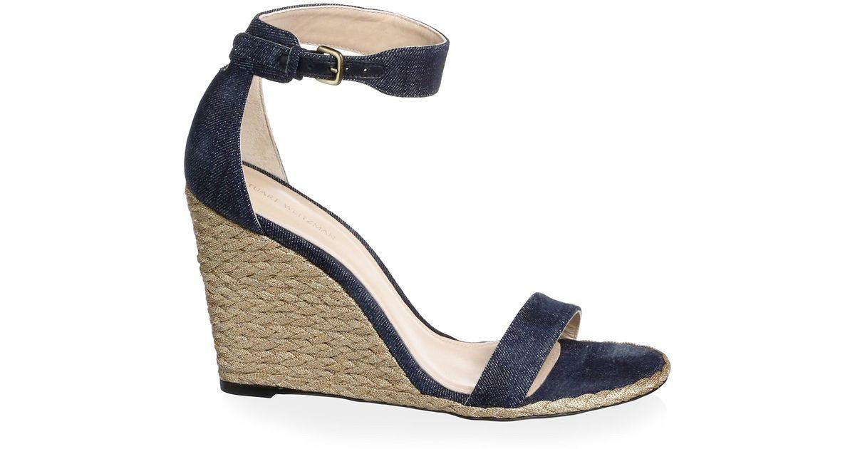 782657be705 Stuart Weitzman Blue Back Up Denim Espadrille Wedge Sandals