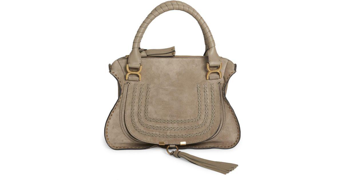 51cd156c Chloé Gray Marcie Suede Satchel Shoulder Bag