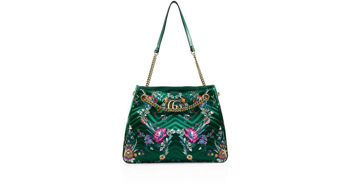 2be080c9a022 Gucci Medium GG Marmont Matelassé Floral Jacquard Chain Shoulder Bag in  Green - Lyst