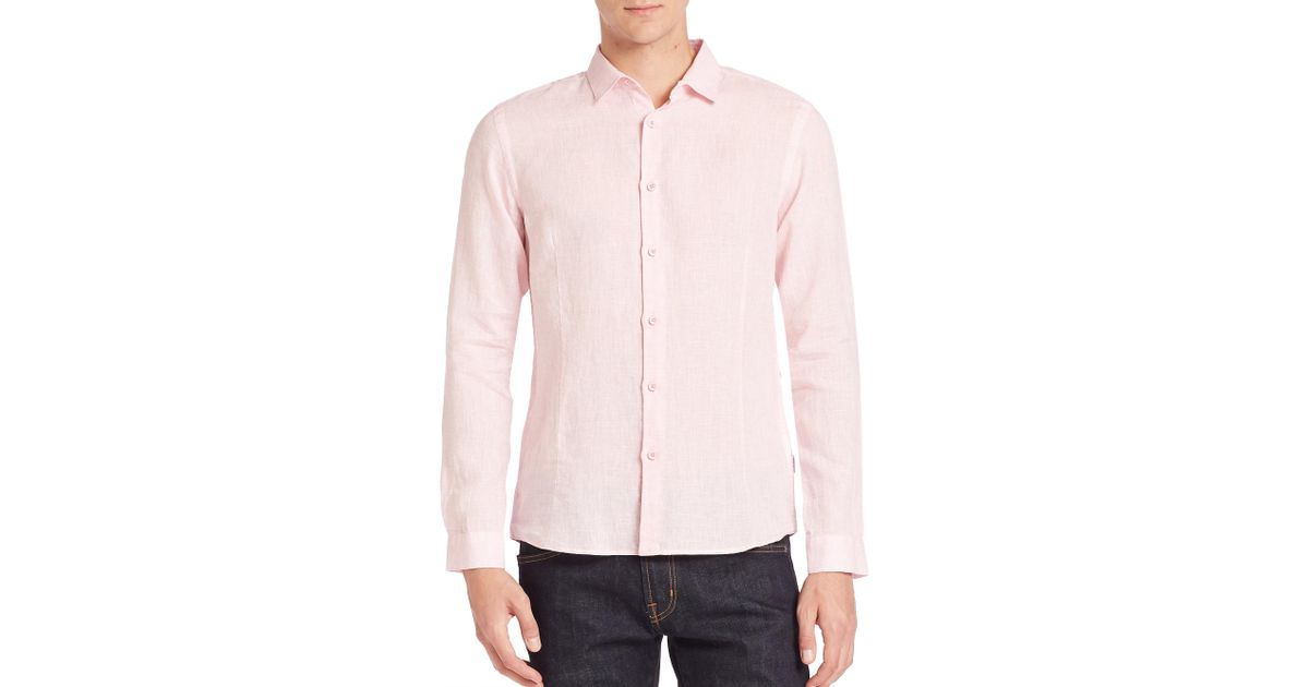 Orlebar brown morton tailored linen button down shirt in for Pastel pink button down shirt