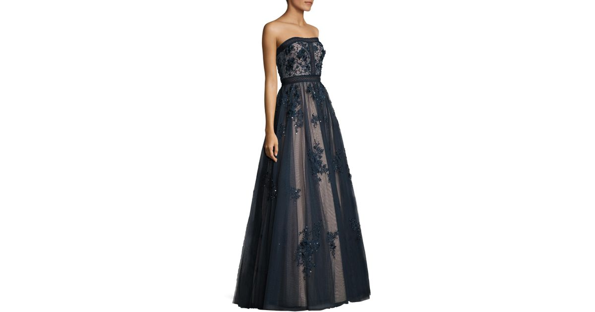 Lyst - Basix Black Label Floral Bodycon Ball Gown in Blue