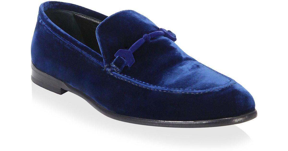 Jimmy Choo Marti Velvet Loafers in Navy