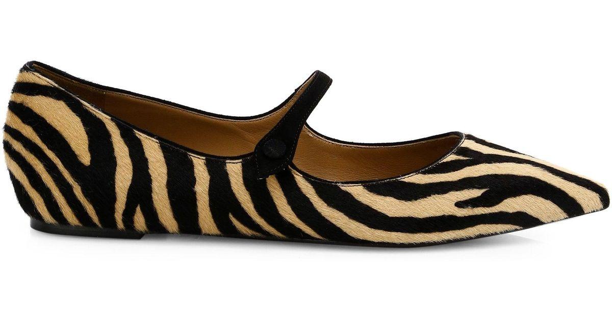 8633fed005d91 Lyst - Tabitha Simmons Women's Hermione Zebra Print Calf Hair Leather Flats  in Black