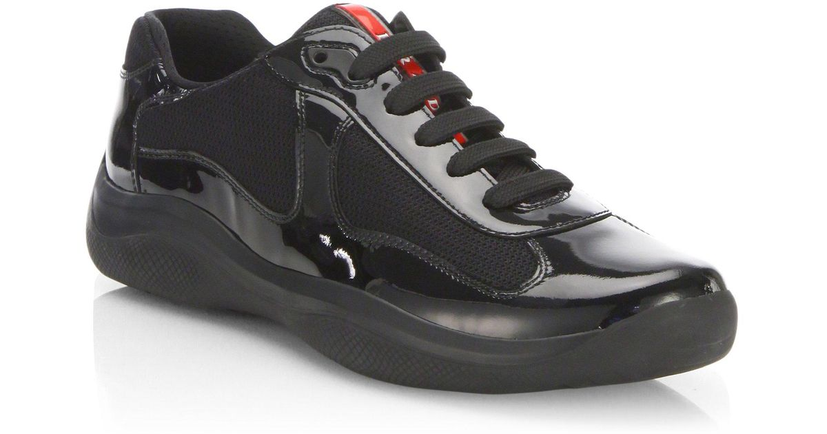 Prada Newac Patent Leather Sneakers in