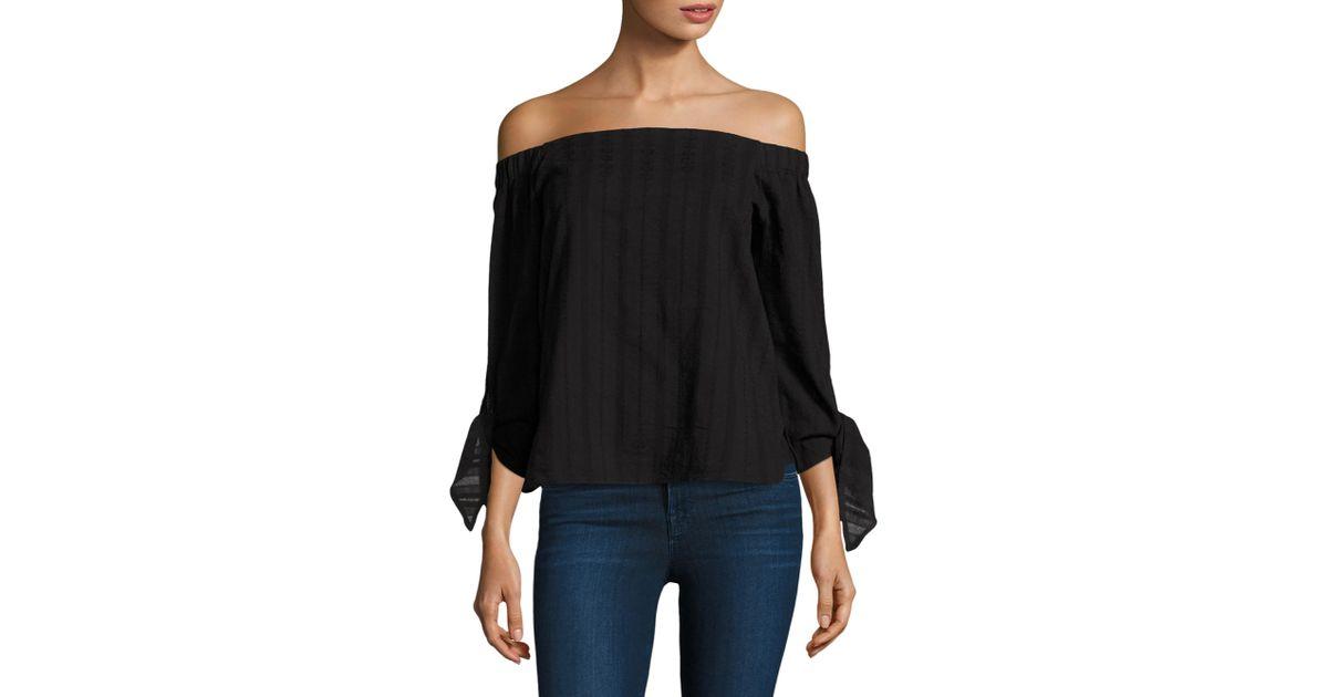 f67986d5089 Lyst - Bailey 44 Women's Yarrow Off-the-shoulder Cotton Top - Black - Size  S in Black