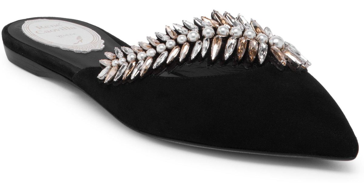 RENé CAOVILLA Bejeweled Leather Flat Mules