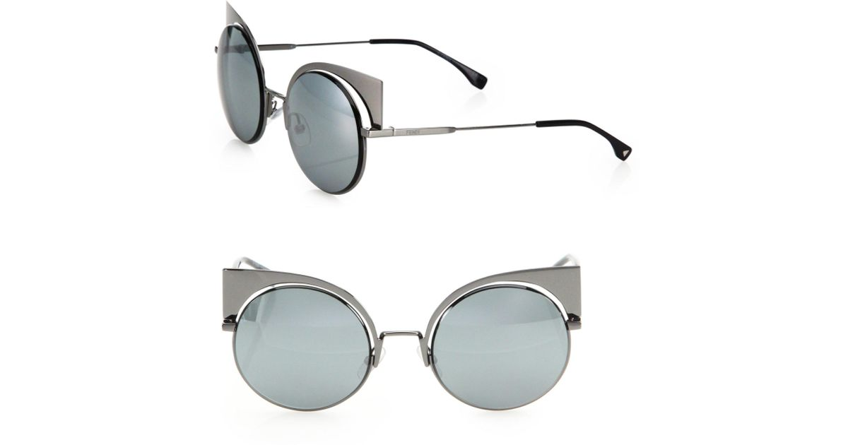 1459633caccd Lyst - Fendi 53mm Mirrored Cat s-eye Sunglasses in Metallic - Save 68%