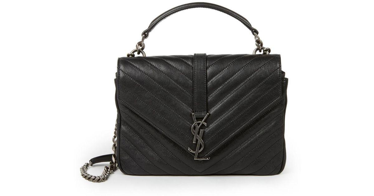 0848bc3d0a Saint Laurent Medium College Monogram Matelasse Leather Shoulder Bag in  Black - Lyst