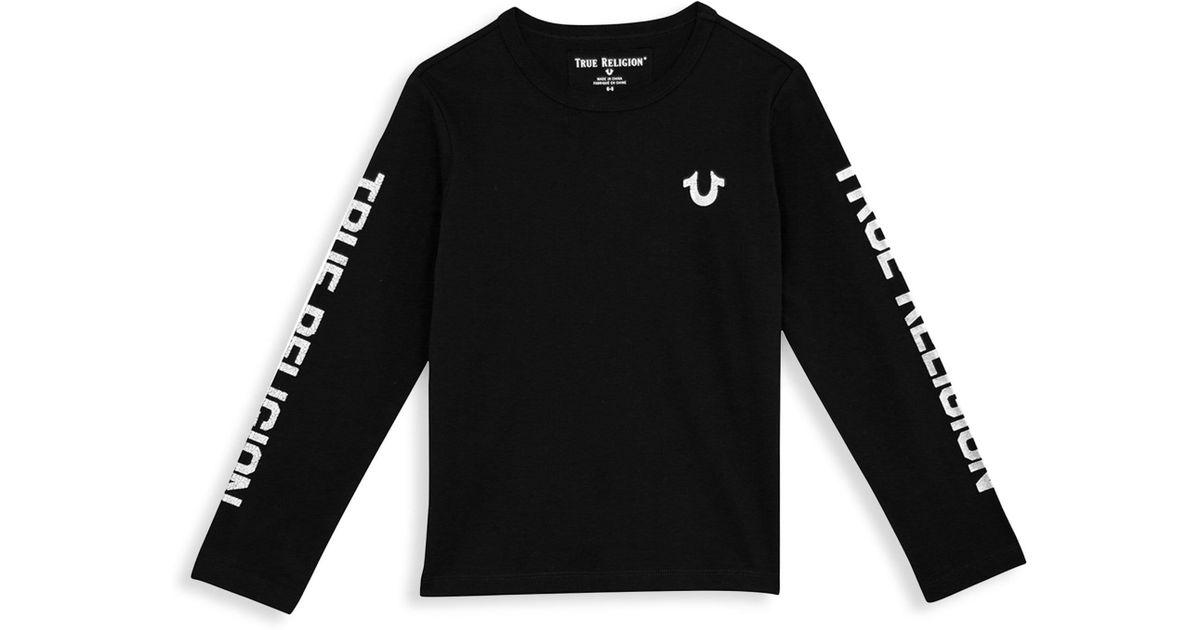 adbe782beb4 True Religion Little Boy s   Boy s Long Sleeve Logo Tee in Black for Men -  Lyst