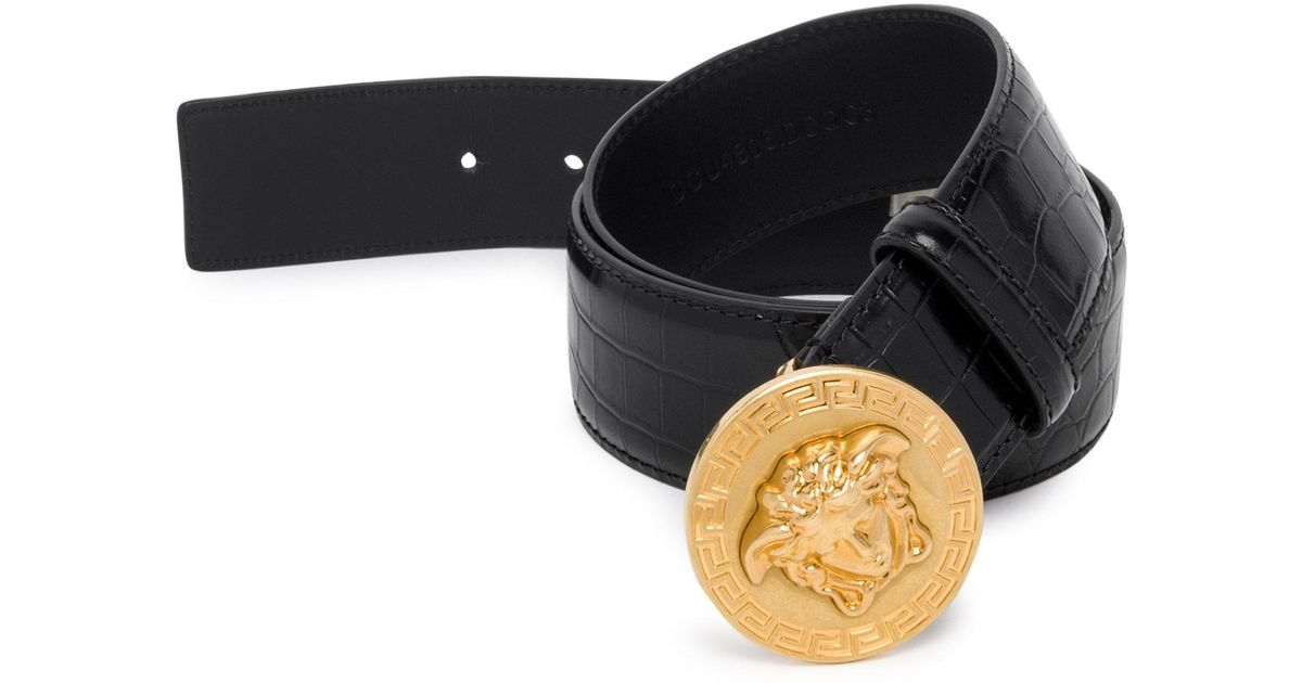 VERSACEMedusa Greek Key Stamped Croc Belt 6ZBN7r