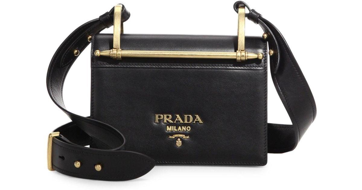 067267ce2d1a ... authentic lyst prada pattina leather shoulder bag in black a81de 3737e  ...
