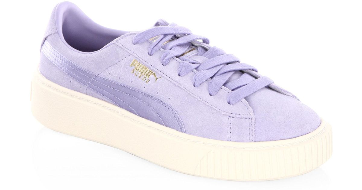 timeless design 753c1 153d1 PUMA Purple Basket Suede Platform Sneakers