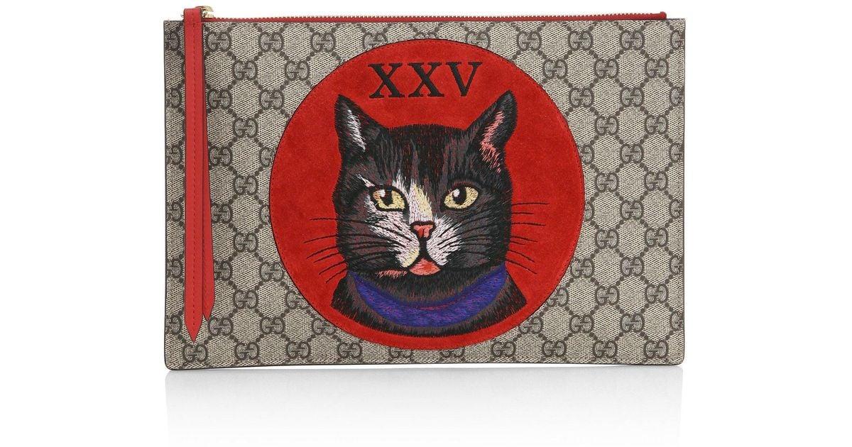 ec7703fc64b Lyst - Gucci Gg Supreme Mystic Cat Clutch