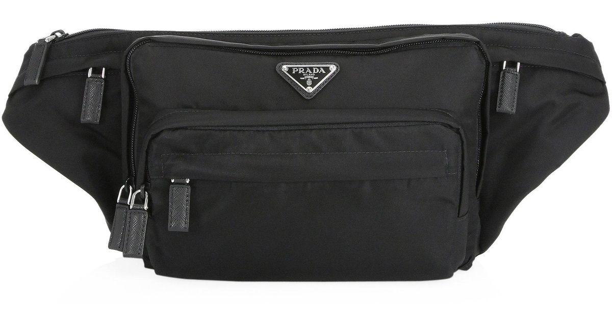 51a12c7e2965 low price lyst prada nylon waist bag in black for men f8039 0af6f