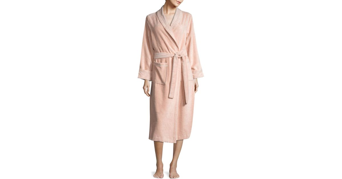 Saks fifth avenue terry velour wrap robe in pink lyst for Saks 5th avenue robes de mariage