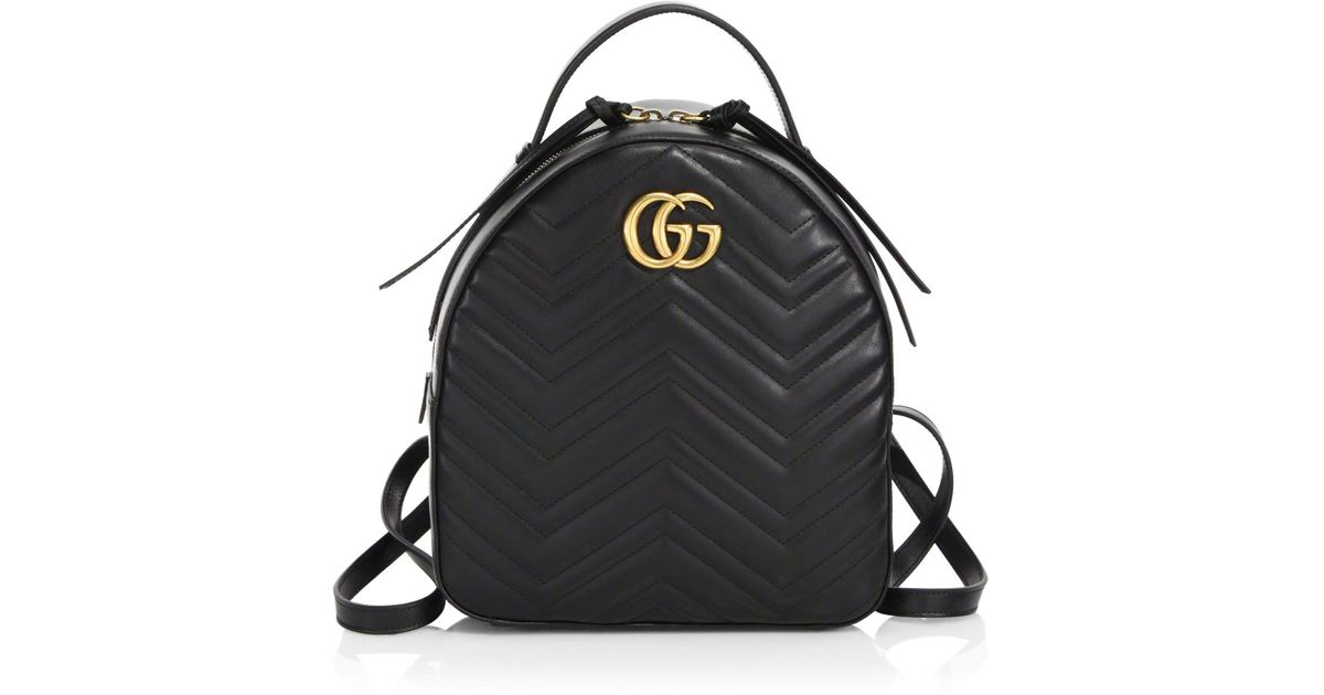 Gucci GG Marmont Chevron Quilted Leather Mini Backpack in Black - Lyst