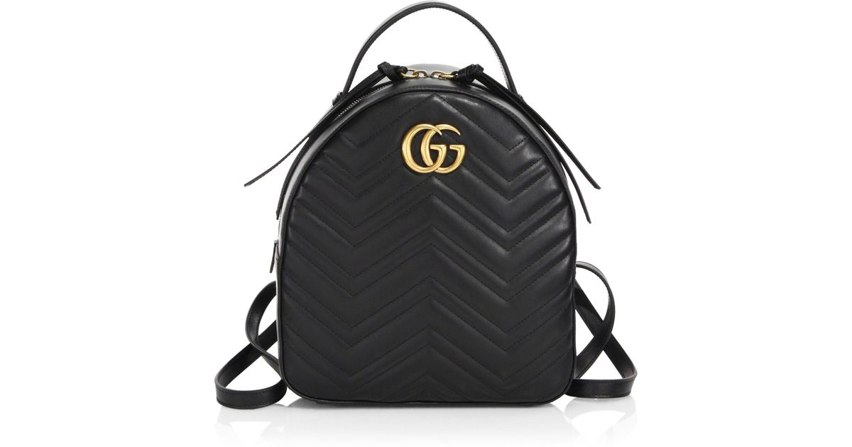 9eebf0bf1d1 Gucci GG Marmont Chevron Quilted Leather Mini Backpack in Black - Lyst