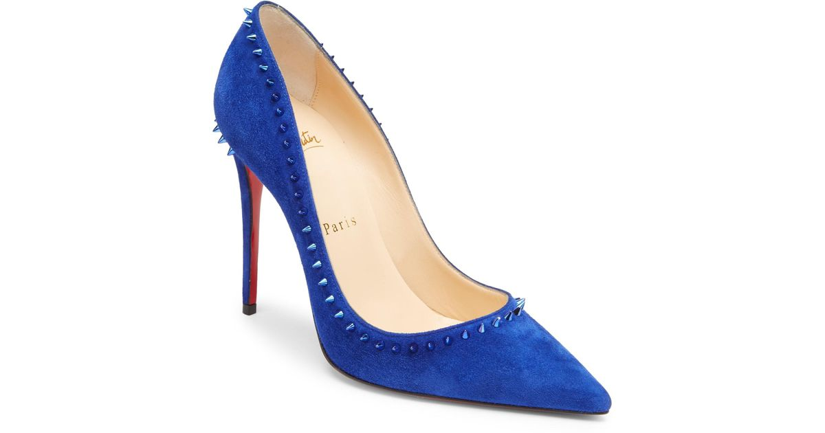 Lyst - Christian Louboutin Anjalina 100 Studded Suede Pumps in Blue f81edc5e5dc
