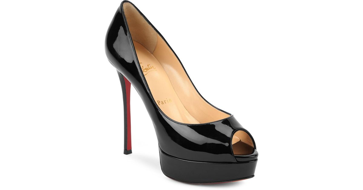 00b9a5afe4a ... order lyst christian louboutin fetish 130 patent leather peep toe pumps  in black b6eb4 2d397