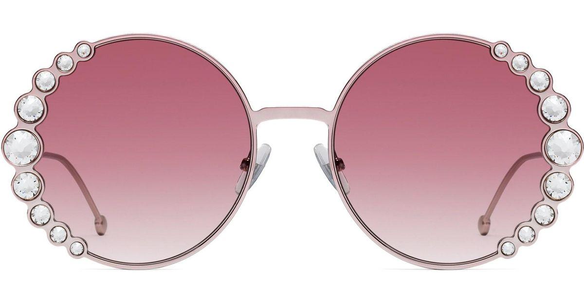0dd02f270c05 Fendi Women's 58mm Oversized Round Swarovski Crystal Sunglasses - Pink in  Pink - Lyst