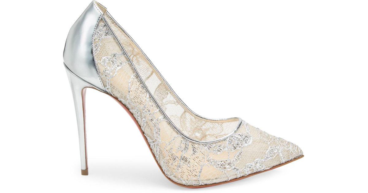 d212b051dc6 Christian Louboutin Metallic Women's Pigalles Follies 100 Lurex Lace Pumps  - Silver