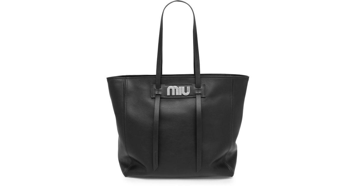 9b2e690ec5 Lyst - Miu Miu Vitello Daino Leather Tote Bag in Black
