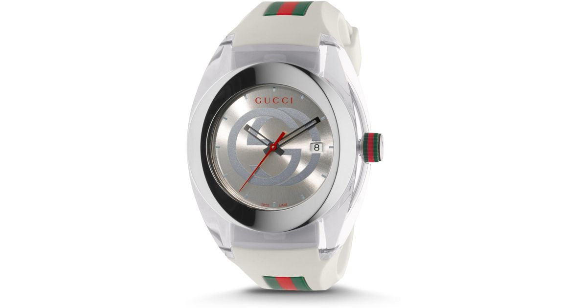 8a4b562fe93 Gucci Men s Sync Stainless Steel Rubber Watch - Red in Metallic for Men -  Lyst