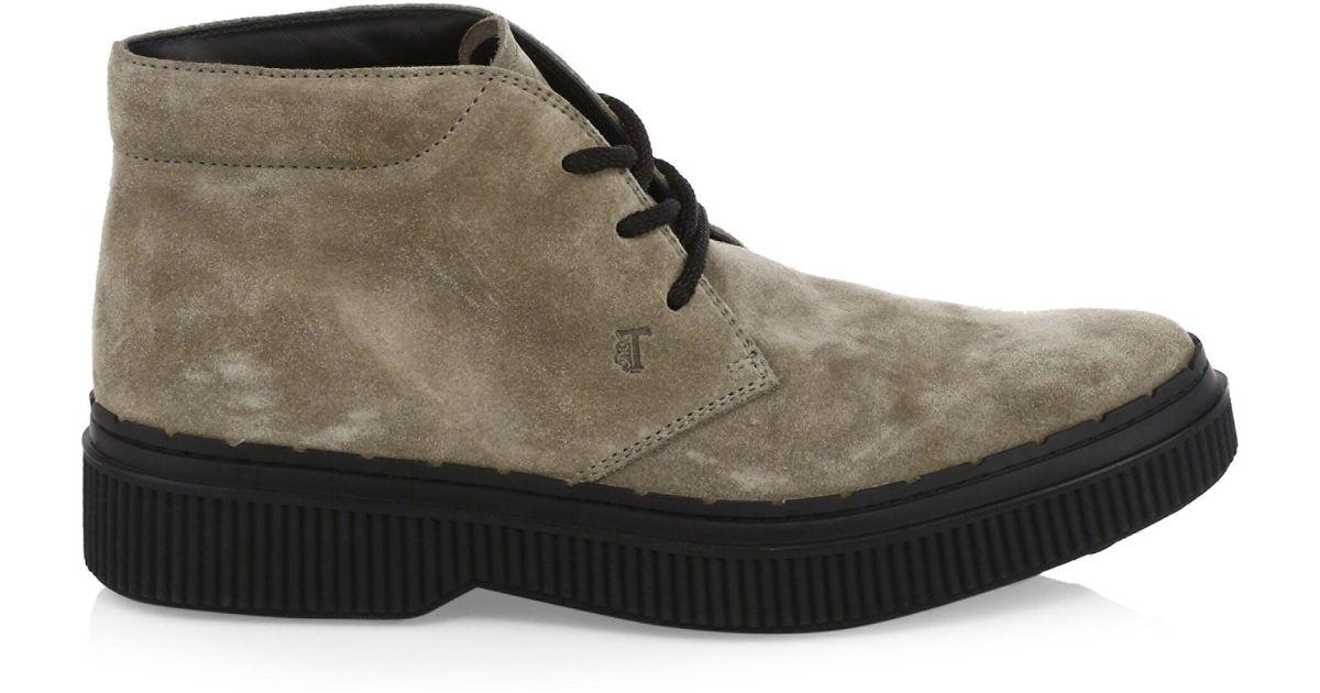bceedacf7d879c Tod's Men's Suede Low-top Combat Boots - Cacao Black for Men - Lyst